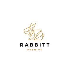 geometric rabbit hare bunny logo icon origami vector image
