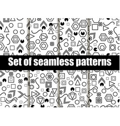 geometric seamless patterns in the memphis style vector image