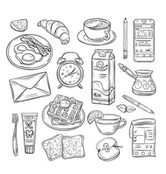 good morning doodle healthy breakfast happy mood vector image