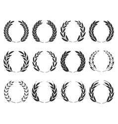 grain wreath spike icon shape sign set black vector image