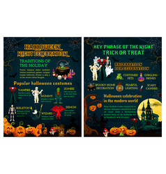 halloween trick or treat night celebration poster vector image