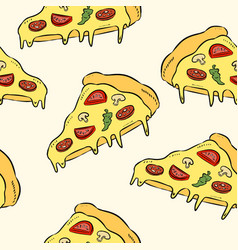 hand draw pizza doodle pizza seamless pattern vector image