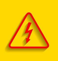 high voltage danger sign red icon with vector image