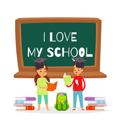 i love my school cartoon girl vector image
