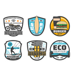 Icons for leisure and sport hobby vector