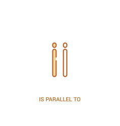 Is parallel to concept 2 colored icon simple line vector