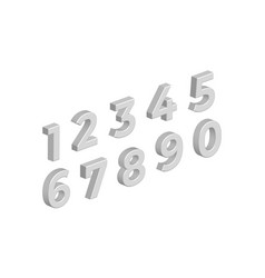 Isometric 3d numbers isolated on white background vector