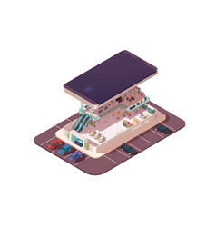 isometric 3d shopping center assembly in vector image