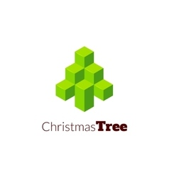 Isometric christmas tree logo vector