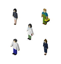 Isometric human set of girl businesswoman doctor vector