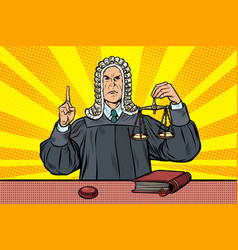 judge in a wig scales of justice vector image