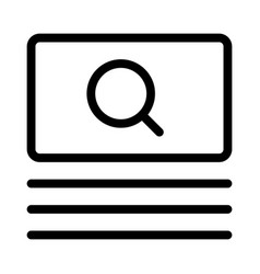 Large box with a magnifying glass search engine vector