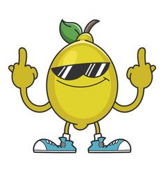 lemon with sunglasses cartoon character vector image