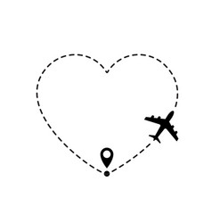 Love travel route airplane line path icon of air vector