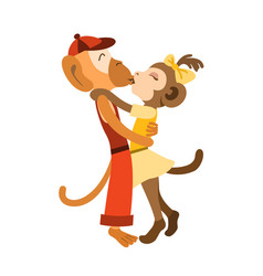 Lovely monkey kids stand hugging and kissing vector