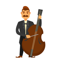 Man with moustache playing contrabass isolated on vector