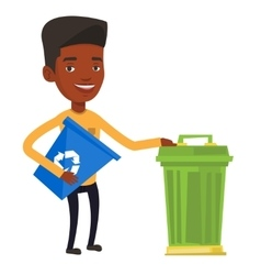 Man with recycle bin and trash can vector