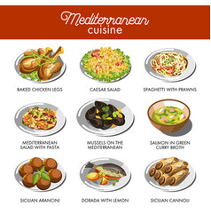 mediterranean cuisine food traditional dishes vector image
