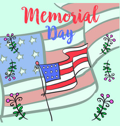 Memorial day hand draw colorful vector