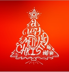 Merry Christmas greetings card with lettering vector