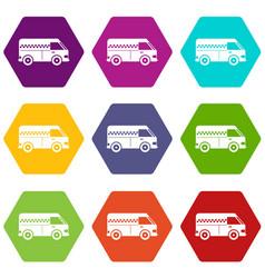 minibus taxi icon set color hexahedron vector image