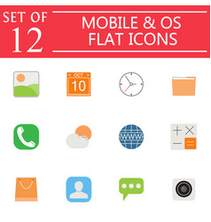 Mobile and os flat icon set symbols collection vector