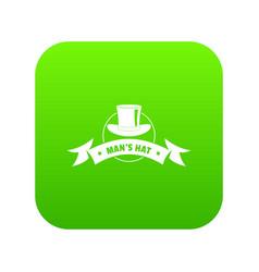 Modern hat icon green vector