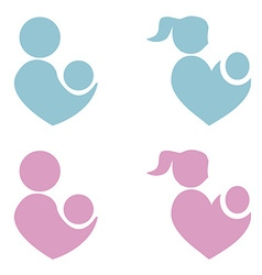 Mom and baicon parents heart shape vector