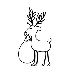monochrome contour caricature of reindeer with vector image