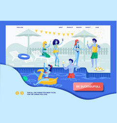 Motivation landing page offering successful life vector