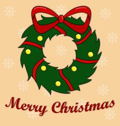 new years card with a christmas wreath peach vector image