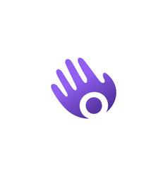 o letter hand palm hello logo icon vector image