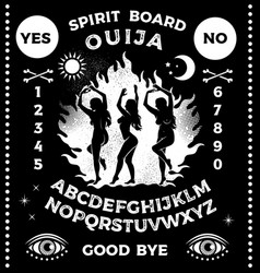 Ouija board with witches dancing near a campfire vector