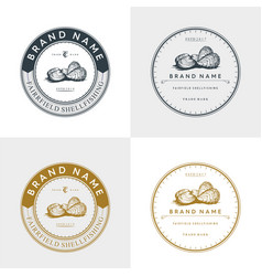 Oyster and shell badge logo vector