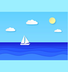 paper boat floating sea cloudy sky with sun vector image