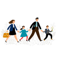 parents lead children to school vector image