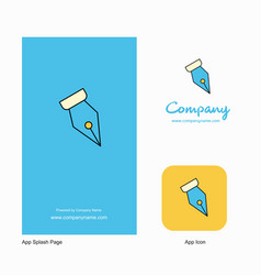 Pen nib company logo app icon and splash page vector