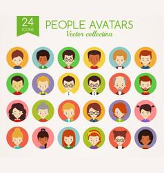 People faces set round avatars vector
