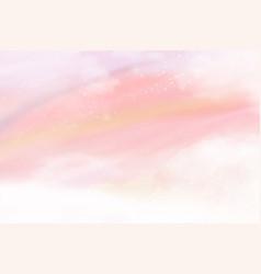 Pink watercolor cotton cloud background pastel vector
