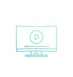 play video player on tv screen linear icon vector image