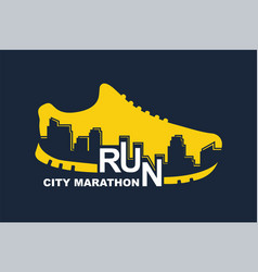 poster - running sport shoe and city vector image