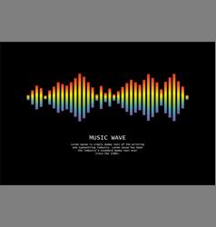 pulse music player audio rainbow wave logo vector image