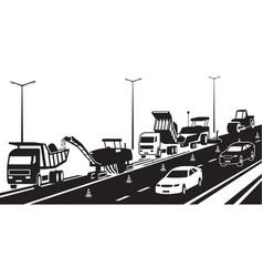 Repair a highway in traffic vector