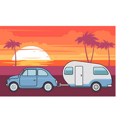 Retro car with camper trailer - summer vacation vector