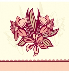 retro card with flowers vector image