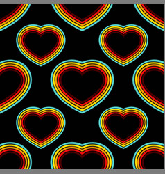 retro hearts lines seamless background vector image
