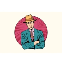 Retro male gentleman in the hat vector