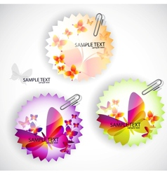 Round sticker with butterflies set vector image