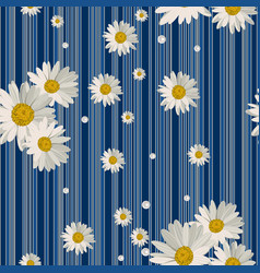 seamless pattern with beautiful white daisy vector image
