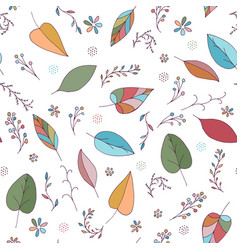 seamless pattern with leaves berries flowers vector image